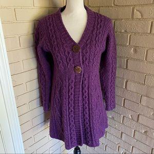 Carraig Donn Sweater Button Front Wool Cardigan